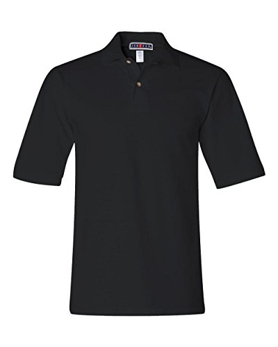 Jerzees mens 6.5 oz. Ringspun Cotton Pique Polo(440)-BLACK-M