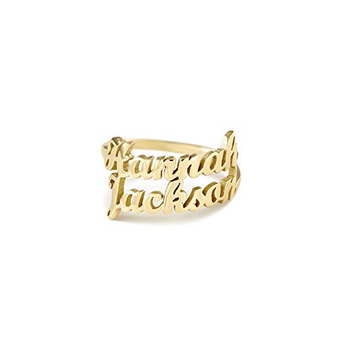 Oak&Luna Personalized Name Ring- One or Two Rows of Names 14k Solid Gold
