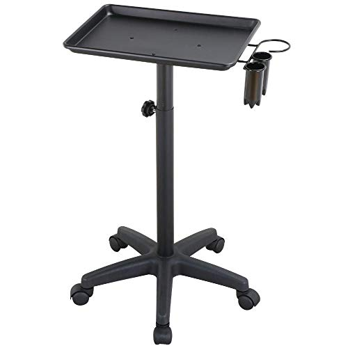 Topeakmart Professional Aluminum Rolling Salon Instrument Tray Trolley w/Caddy Black ()