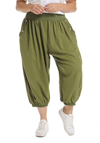 (Anienaya Baggy Pants Plus Size Women Harem Pants Elastic Waist with Button Wide Leg Summer Casual Yoga Trousers Army Green )