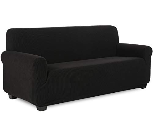 TIANSHU Stretch Couch Covers for Sofa, Slipcover for Living Room, Soft/Durable/Stay in Place Sofa Cover (Sofa, Black)