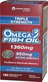 Vitamin World Triple Strength Omega-3 Fish Oil 1360 mg 180 rapid release softgels
