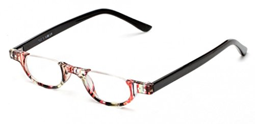 The Hunter Colorful Retro Half Under Frame Rimless Round Vintage Reading Glasses +2.00 Red Stripe (Carrying Case - Rimless Glasses Frame Half Reading