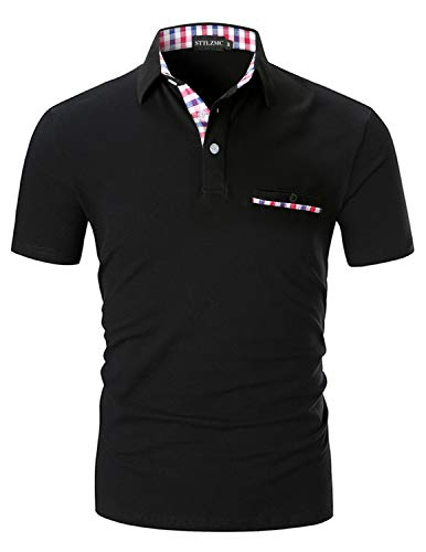 (STTLZMC Polo Shirts for Men Short Sleeve Casual Fit Plaid Collar T-Shirts,Black,X-Large)