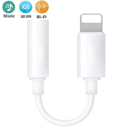 for iPhone Headphone Jack Adapter to 3.5 mm Headphone Jack Adapter for iPhone X/XS/XR/8/8 Plus Converter Accessories Cable Splitter Audio Jack Headphone Cable Earbud Adapter Support All iOS Systems