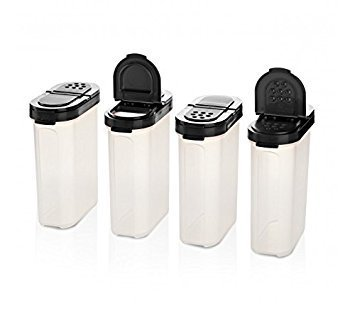 Tupperware Large Spice Shaker Set of Four. Black Seals (Containers Tupperware Spice)