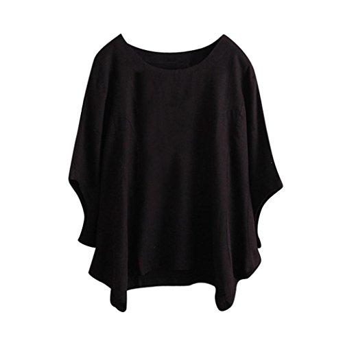 Bluestercool Blusa da Donna Estate Casual T-Shirt Nero