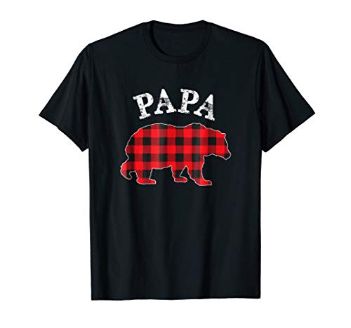 Papa Bear Flannel - Mens Red Plaid Papa Bear Buffalo Matching Family Pajama T-Shirt 3XL Black