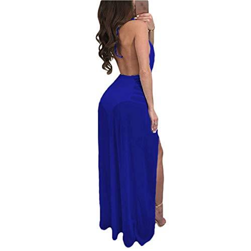 Tirantes Partido Up del Cintura Color Club sin Vestido Party V Ydncmgga Sheer Halter Lace S Maxi Azul Cuello tamaño xw0Bz1Bqf