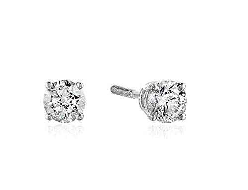 AGS Certified 1/5 Cttw Brilliant-Cut Diamond Classic 4-Prong Screw Back Stud Earrings (Color J-K, Clarity I2), 14K White - Diamond Classic Post Earring