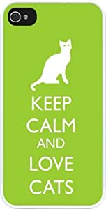 Rikki KnightTM Keep Calm and Love Cats Lime Green Color Design iPhone 4 & 4s Case Cover (White Rubber with bumper protection) for Apple iPhone 4 & 4s