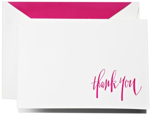 Crane & Co. Hand Engraved Raspberry Thank You Notes (CT1315), Pack of 10