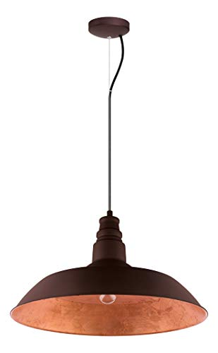1x100W Pendant w/Chocolate Brown Outer and Gold Interior Shade