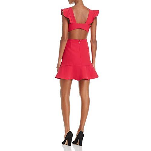 612c599c212 BCBG Womens Nicole Ruffle Trim Cutout Cocktail Dress Pink 8   Weshop ...
