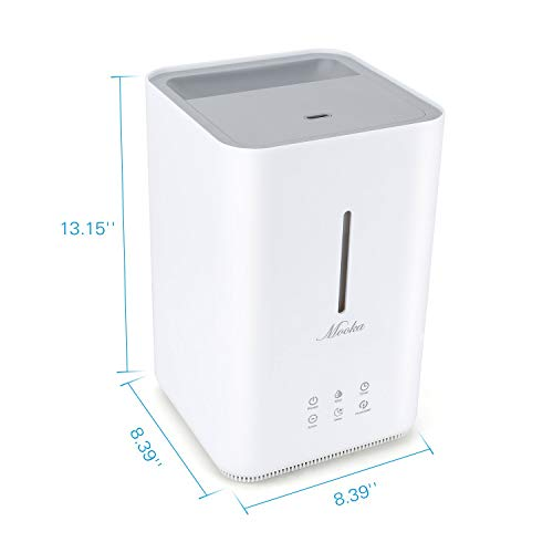 Mooka Top Fill Humidifiers, 2019 Upgraded Air Humidifier with Humidity Control & Display, 4L Open Tank, Anion Generator, Ultrasonic Cool Mist Humidifier for Bedroom, Baby, Nursery, Office