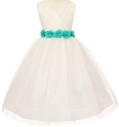 Big Girls' Ivory Tulle V Neck Floral Sash Flowers Girls Dresses Jade Size 8