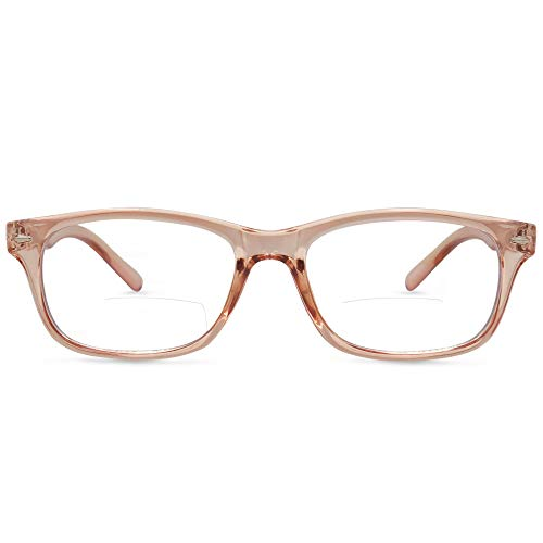 In Style Eyes Seymore Retro BiFocal Reading Glasses Clear Rose 3.00