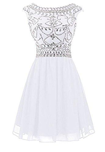 und Diamant emmani Knie Snow dreht Weiß Damen Homecoming Halsband rund Kleid xaagSqYOnw
