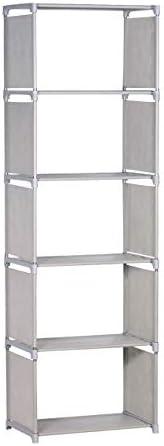 NiceAI Bookshelf Lightweight Slim Modern Bookcase Metal Framework Children's Room Arrangement Toys Office A4 File Books Kitchen Clothing Storage Rack Gray 6-Tier