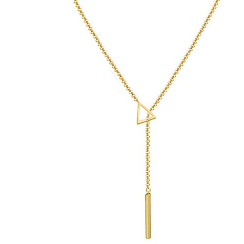 Y Layer Simple Bar Round Triangle Metal Ring Stick Bar Pendant Necklace Chain for Women (Gold-3)