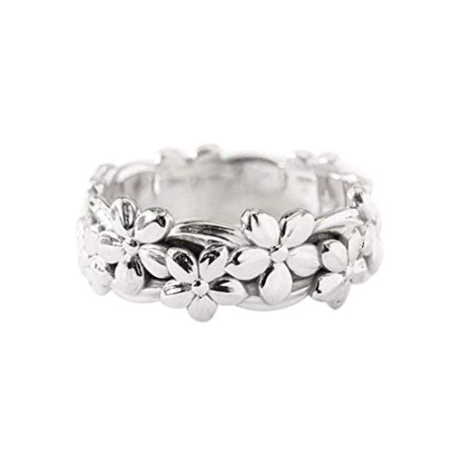Napoo  Fashionable Wedding Ring Plum Blossom Ring Finger Accessories (Silver, 7)