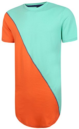 Pizoff Unisex Hister Short Sleeve Crew Neck Contrast Split Arc Bottom Extra Long T Shirts Extended Dress Y1293-BlueOrange-S