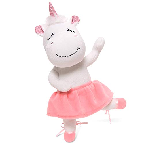 "Unicorn Stuffed Animal - Cute Posable Ballerina Unicorn Gifts Large 14"" White & Pink Unicorn Plush Toy! Gift Packaged for Girls Birthday, Valentines or Graduation w eBook Included - by Marvs Store."