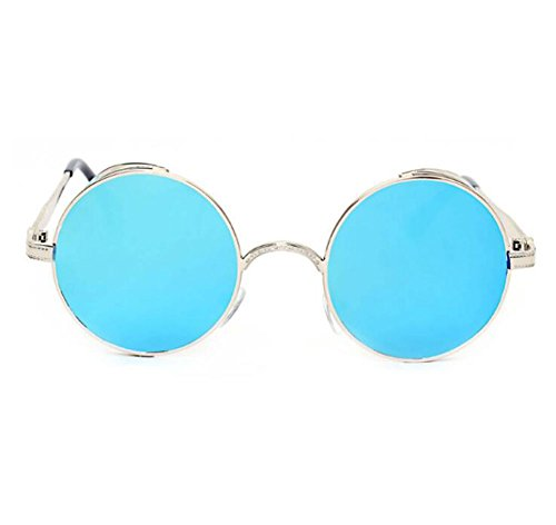 en Rétro lunettes Argent soleil cadre unisexe de en cadre trois métal Steampunk modèle Keephen Réfléchissant dimensions rond non Bleu classique polarisé zvxdwxU04q