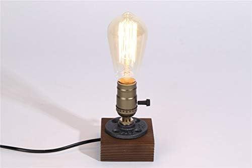 Lámpara de mesa industrial vintage, base de madera Retro Edison ...