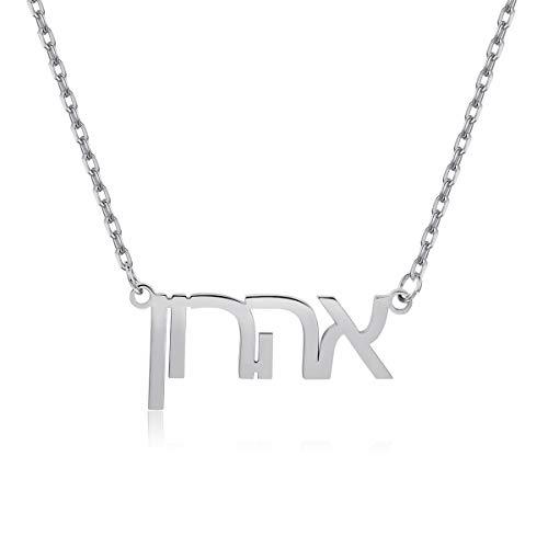 Hebrew NameNecklace Personalized,Tiny Custom Nameplate PendantJewelryGiftforWomen