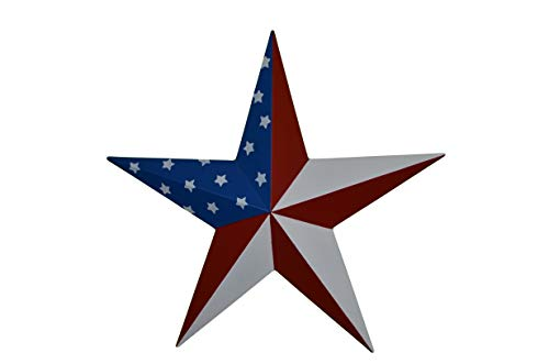 AMISH WARES 53 Inch Heavy Duty Metal Barn Star Painted Solid Patriotic Stars and Stripes. ()