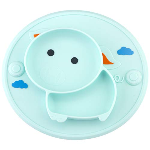 Baby Silicone Plate Suction Toddler Plates Mini Plate Placemat for Kids and Infants Self Feeding One-Piece Strong Suction BPA Free, FDA Approved, Microwave & Dishwasher Safe (Green)