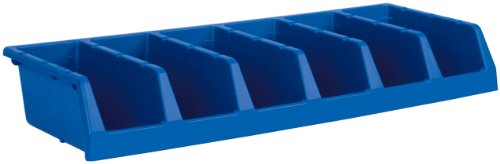 [Akro-Mils 30312 System Bin Six Compartment Single Piece Shelf Storage Bin Unit, Blue, Case of 5] (Single Wide 5 Shelf)