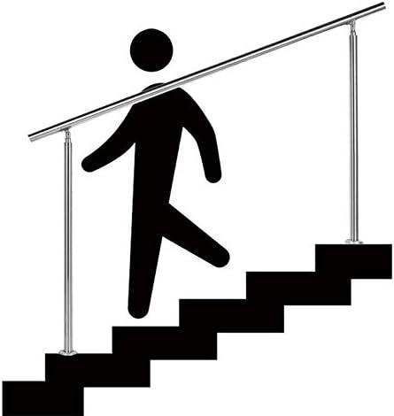 ステンレス鋼手すりセット、滑り止め階段手すり、屋内および屋外用、高齢者と障害者のための安全手すり、手すりレール、2支柱、クロスバーなし、シルバー
