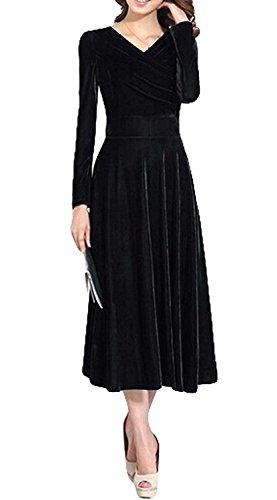 B dressy Women's Fashion Long-sleeved Velvet Dress Big Swing