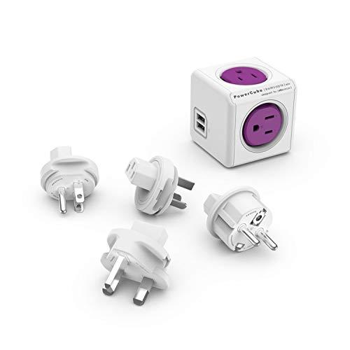 Allocacoc PC-1910/USRU4P 1910 Adapter, 4 outlets+2USB, Purple