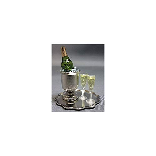 Dollhouse Miniature Champagne Bucket Tray-w/ Champagne, Ice & Flutes