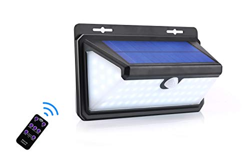 Solar Motion Sensor Light Outdoor Garage Lights 70 LED Solar Security Light with 3 Modes and Remote Controller for Front Door Step Backyard r (C)