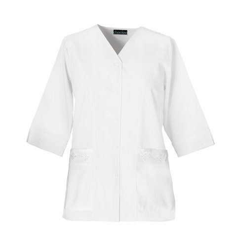 Cherokee Professional Whites by Women's Eyelet Solid Scrub Jacket Large White