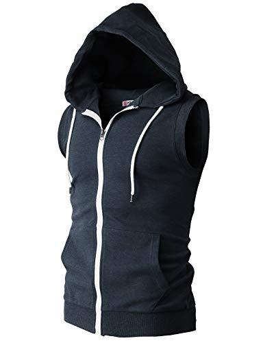 (H2H Men Generic Men's Stylish Sleeveless Workout Hoodie Zip-up Vests Bodybuilding Lifting Tank Tops Navy US 3XL/Asia 4XL (CMOHOSL08))