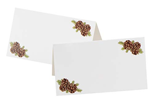 Place Cards - 100-Pack Christmas Small Tent Cards, Fold over Table Placecards, Table Setting Seat Assignment Decoration for Holiday Thanksgiving Parties, Pine cones Design, Folded 2 x 3.5 Inches