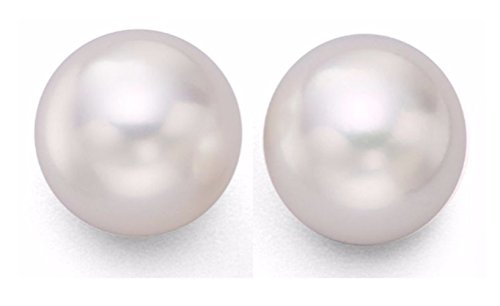 Cultured Akoya Salt Water White Pearl 7.5-8mm AA+ 14Kt. Solid gold stud earrings
