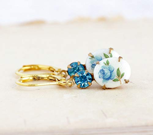 (Blue Floral Cameo Jewel Drop Earrings Brass Leverbacks)