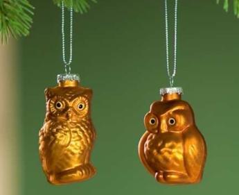 Amazon De 6 Eulen Aus Glas Christbaumschmuck Weihnachtsbaumdeko