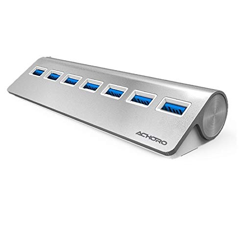 Achoro 7 Ports USB 3.0 High-Speed USB Hub - Triangle Aluminum Alloy Seven Ports Data Transfer USB Hub Compatible with PC, iMac, MacBook, Windows, USB Flash Drive, Hard Drive, and More