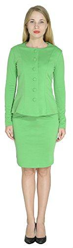 Marycrafts Women's Formal Office Business Work Skirt Suit Set 8 Parakeet Green (Long Jacket Skirt Suit)