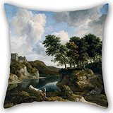 - Artistdecor Oil Painting Jacob Van Ruisdael - River Landscape With A Castle On A High Cliff Throw Pillow Covers 16 X 16 Inches / 40 By 40 Cm Gift Or Decor For Indoor,teens,boys,home Office,deck Cha
