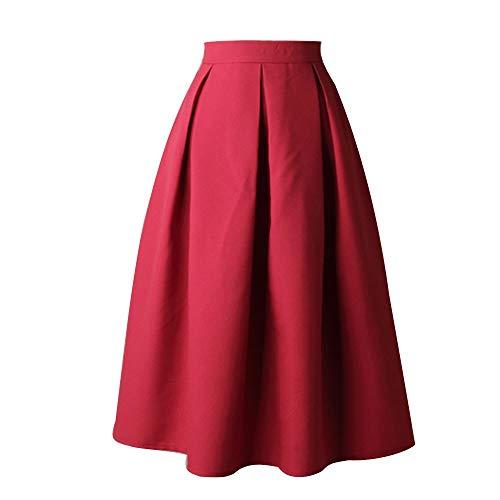 b34291f3bb3 Longueur Courte Rétro Vin Robe Femmes Longue Genou Évasé De Pleine Haute  Mini Femme Col Plissees Jupes Carré Taille ...