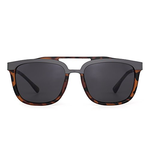 Rectangle Designer Sunglasses Double Bridge Stainless Steel Browline Men Women (Tortoise / - Tortoise Clubmaster Sunglasses Shell