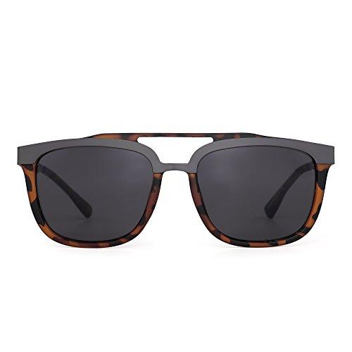 Rectangle Designer Sunglasses Double Bridge Stainless Steel Browline Men Women (Tortoise / - Men Shell Sunglasses Tortoise